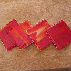 Fire: Fused glass coasters set of 4 by SunriseGlassArt