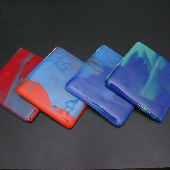 Sunrise Mix: Fused glass coasters set of 4 by SunriseGlassArt
