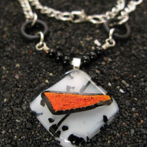 Firestone: Dichroic fused glass necklace (beaded by MyJewlery4u), sterling silver bail