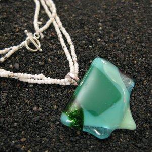 Uvarovite: Fused glass necklace, sterling silver bail