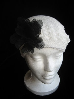 Off White Crochet Hat & Black Sheer Flower Set