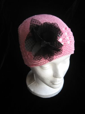 Pink Crochet Hat & Black Sheer Flower Set