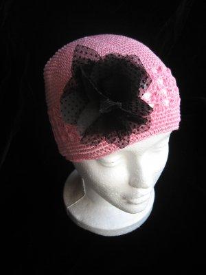 Pink Crochet Hat & Black Sheer Flower Set