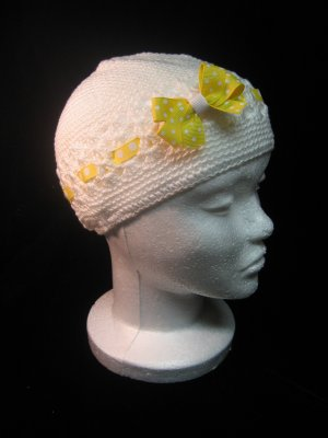 Off White Crochet Hat w/ Yello Ribbon and Matching Hair Bow