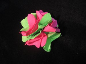 NEW! Apple Green and Shocking Pink Handmade Flower