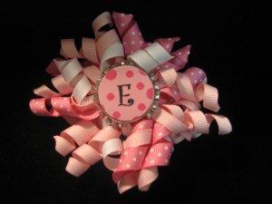 Custom Letter Pink Bottle Cap Bow