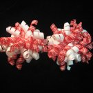 Red and White Checkered Korker Bow Set of 2