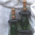 Green Glass and Hematite UFO's (Earrings) (ENV - 004)