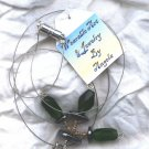 Green Glass and Hematite UFO's (Necklace) (ENV -005)