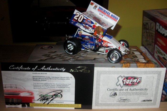 Action Danny Lasoski Outlaws sprint car signed 1/24