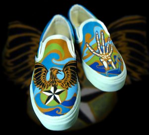 Custom Hand Painted Vans Shoes *Mens Sizes* /// Sink or Swim by Yourkicks.com