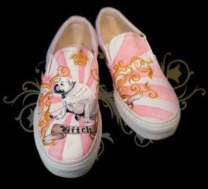 Custom Hand Painted Vans Shoes *Women Sizes* /// Queen B by Yourkicks.com