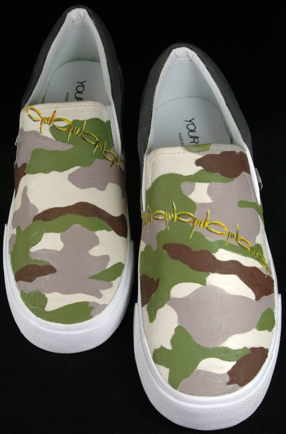 """Custom Hand Painted Vans Slip on Shoes For Men - """"The Camouflage"""""""
