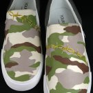 "Custom Hand Painted Vans Slip on Shoes For Men - ""The Camouflage"""