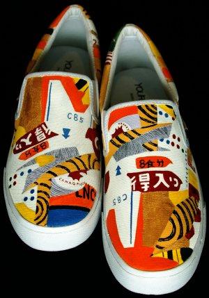 """Hand Painted Shoes : Custom Vans Slip-ons Sneakers For Men - """"The Imperial City"""""""