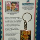 ELVIS PRESLEY KEYCHIAN WITH POSTAGE STAMP- Free Shipping
