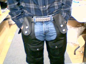 Black Leather Motorcycle Chaps, New Design, Size Small