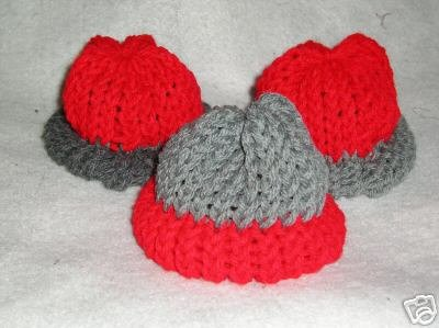 Red-Gray Knit Cap Hat for Sock Monkey/doll NEW Handmade