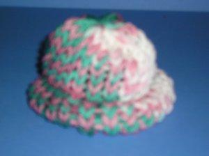 Green-Pink-White varigated Knit Cap Hat Sock Monkey doll Handmade