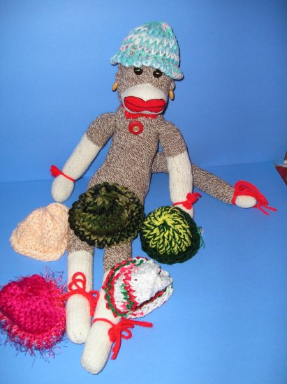 Pastel Pink-Blue etc  knit Cap Hat Sock Monkey or doll Handmade NEW!