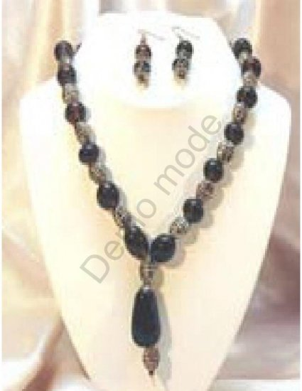 Black and Silver Necklace with matching earrings