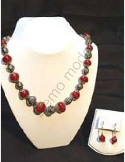 Red and Silver Necklace with matching earrings