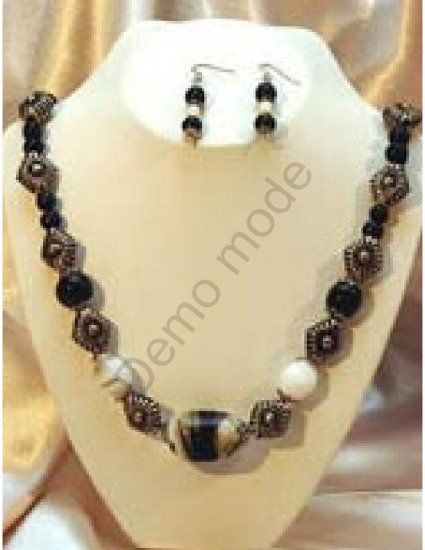 White, Black and Silver Necklace with matching earrings