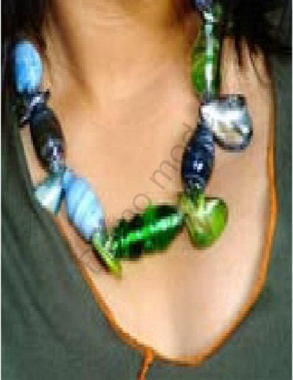 Blue And Green Necklace with Shells
