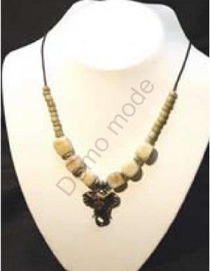 Cream Necklace with Elephant Head Pendant
