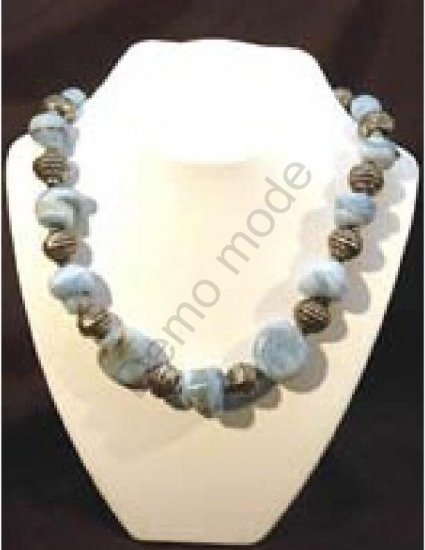 Light Blue Necklace with Silver Beads