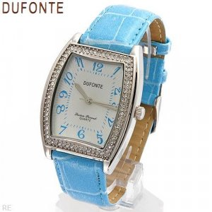 Dufonte Crystal watch featuring blue leather straps.