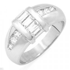 1.34ctw Cubic zirconia sterling silver ring.