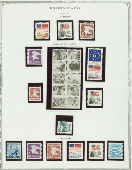USA Stamps on Scott Page of MNH 1980-2 Definitives E3066