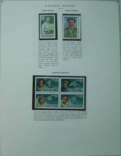 USA Stamps on Scott Page of MNH 1988 - E5205