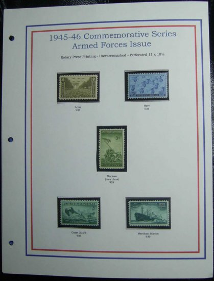 1945-46 USA MNH Stamps on page - Armed Forces Commemoratives E8616