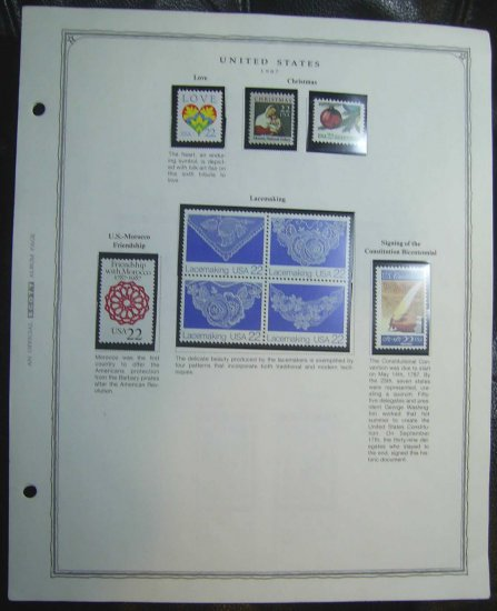 1987 USA MNH Commemorative Stamps on a Scott Page � E6426
