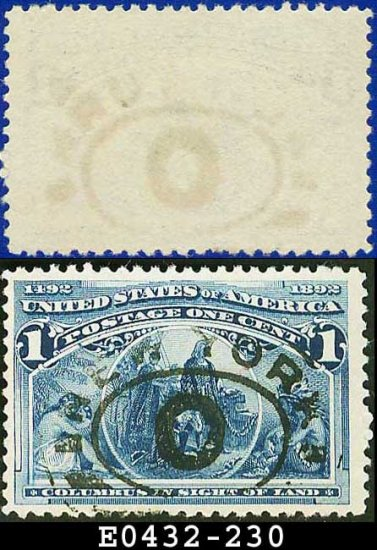 1893 USA USED Scott# 230 � 1c Columbus in Sight of Land