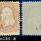 1861-62 USA USED Scott# 65 – Washington 3c Rose E0180