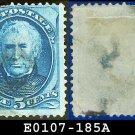 1879 USA USED Scott# 185 – 5c Taylor – Blue American Bank Note Printing