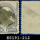 1887 USA USED Scott# 212 – 1c Franklin – Ultramarine