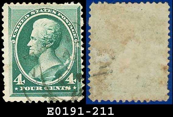 1883 USA USED Scott# 211 � 4c Andrew Jackson � Blue-Green