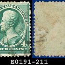 1883 USA USED Scott# 211 – 4c Andrew Jackson – Blue-Green