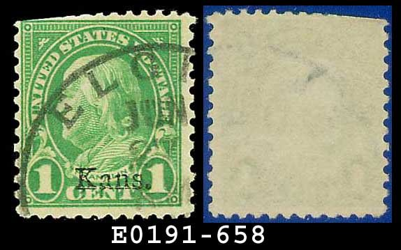 1929 USA USED Scott# 658 � 1c Kansas Overprint � Rotary Press Printing
