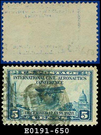 1928 USA USED Scott# 650 � 5c Globe and Airplane � Blue