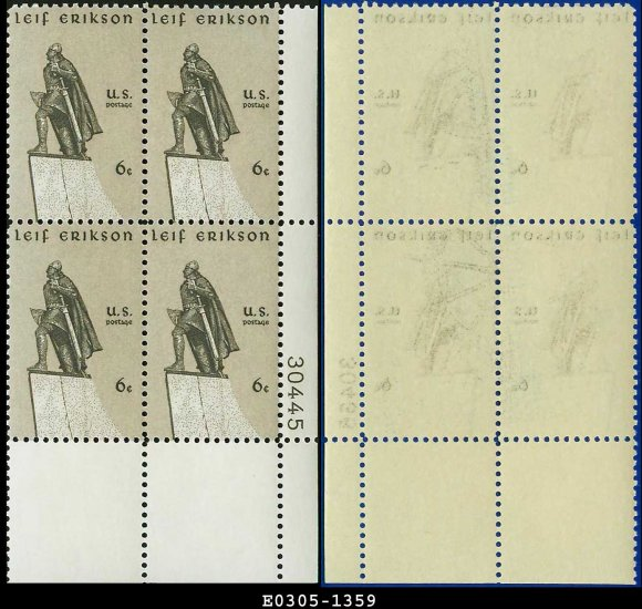 1968 USA Mint No Hinge Scott# 1359 Plate Number Block of Four � 6c Statue of Leif Erikson