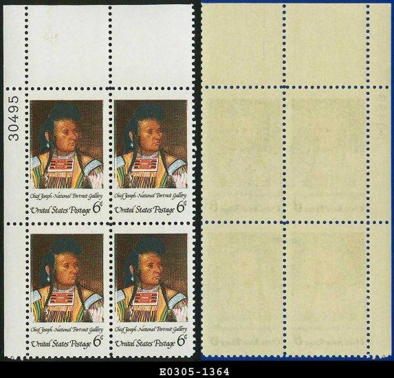 1968 USA Mint No Hinge Scott# 1364 Plate Number Block of Four � 6c Chief Joseph