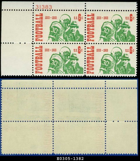 1969 USA Mint No Hinge Scott# 1382 Plate Number Block of Four � 6c Football Player and Coach