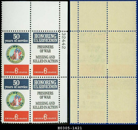 1970 USA MNH Sc# 1421-22 Plate#  Block of Four � 6c Disabled American Veterans & Prisoners of War