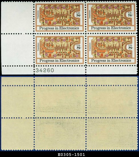 1973 USA Mint No Hinge Scott# 1501 Plate Number Block of Four � 8c Progress in Electronics
