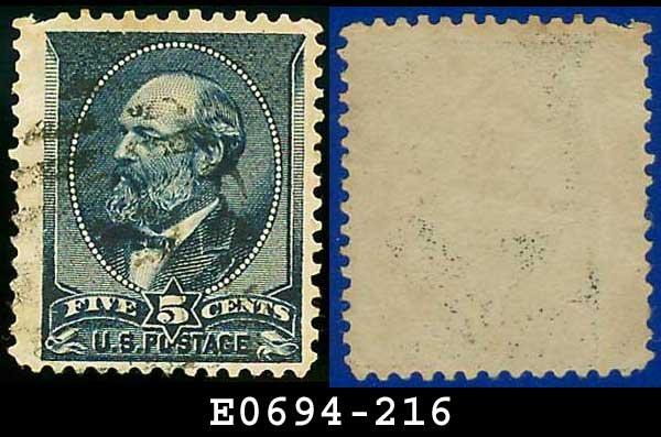 1888 USA USED Scott# 216 � 5c Garfield � 1887-8 Color Change Series